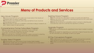 PCS Menu of Products and Services